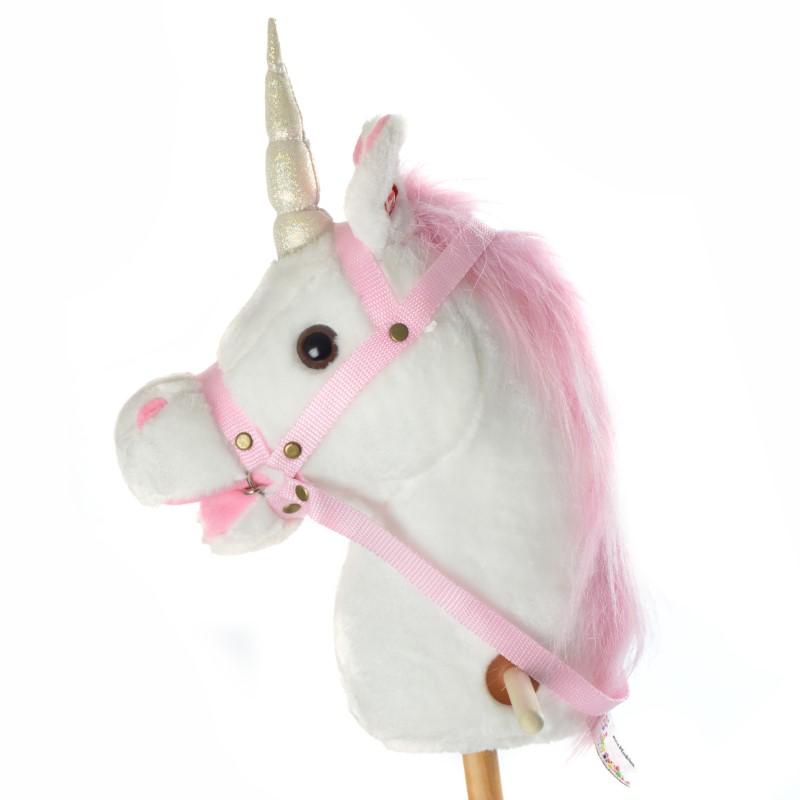 Steckenpferd Einhorn MANDY mit Sound Weiß mit pinker Mähne