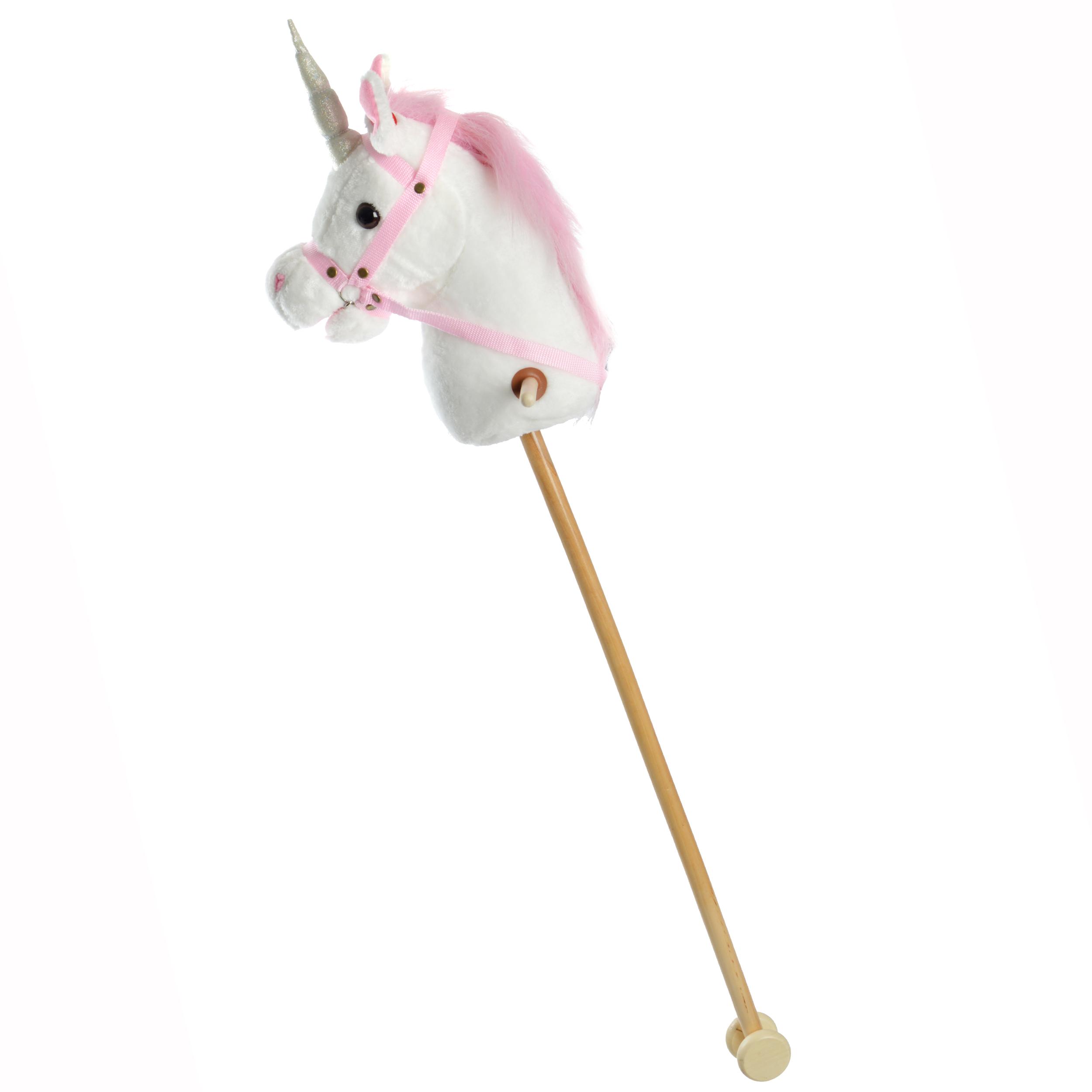 Pink Papaya Steckenpferd Einhorn MANDY mit Sound Weiß mit pinker Mähne
