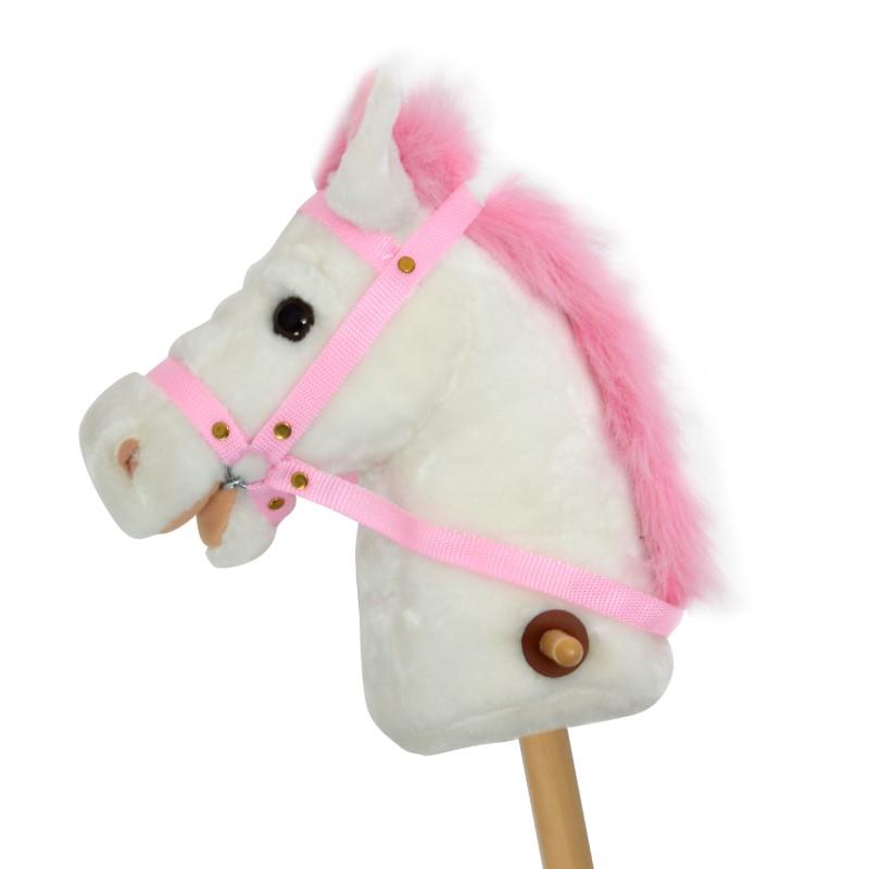 Steckenpferd LILLY mit Sound Weiß mit pinker Mähne