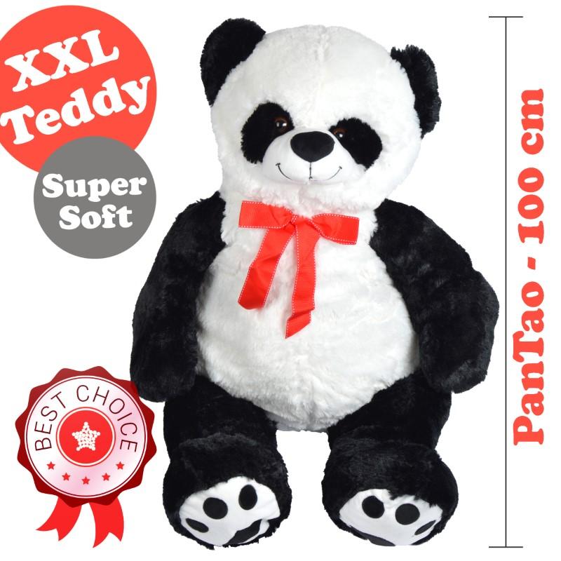 Teddybär / Panda Pan Tao, 120cm XXL Teddy-Plüschbär in schwarz-weiss