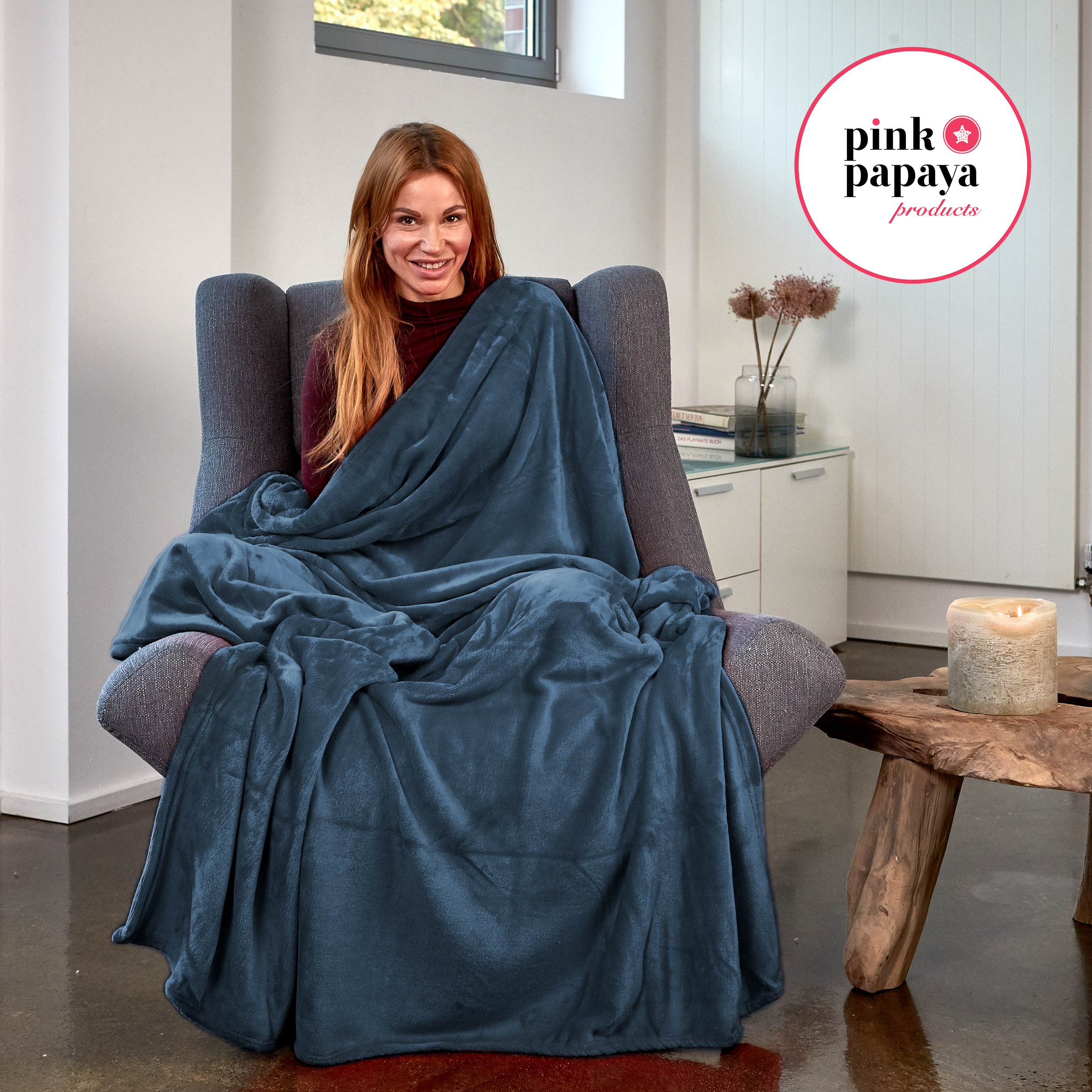 Pink Papaya Snug Me Supersoft Cashmere-Touch 150x200 cm - Anthrazit