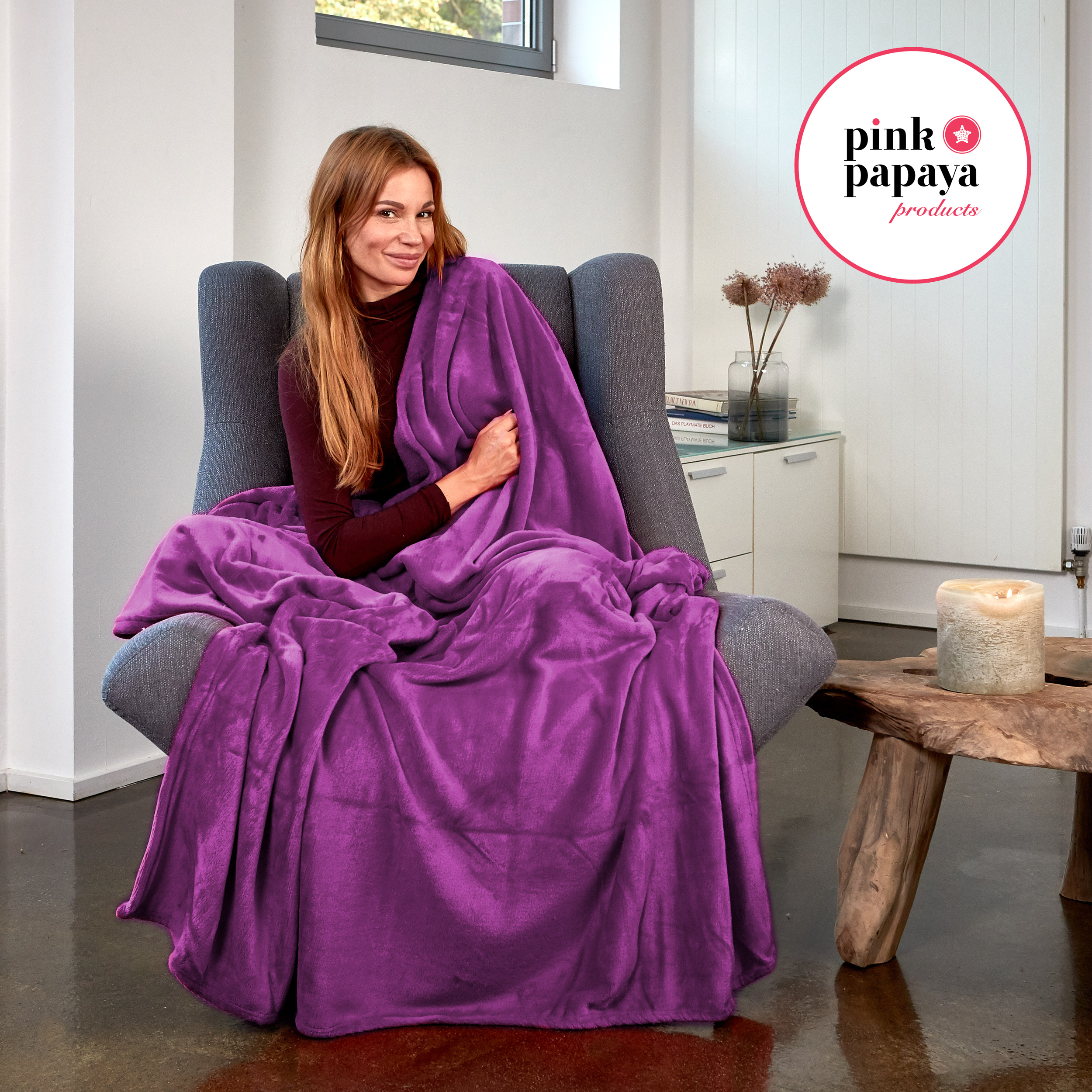 Pink Papaya Snug Me Supersoft Cashmere-Touch 150x200 cm - Lila