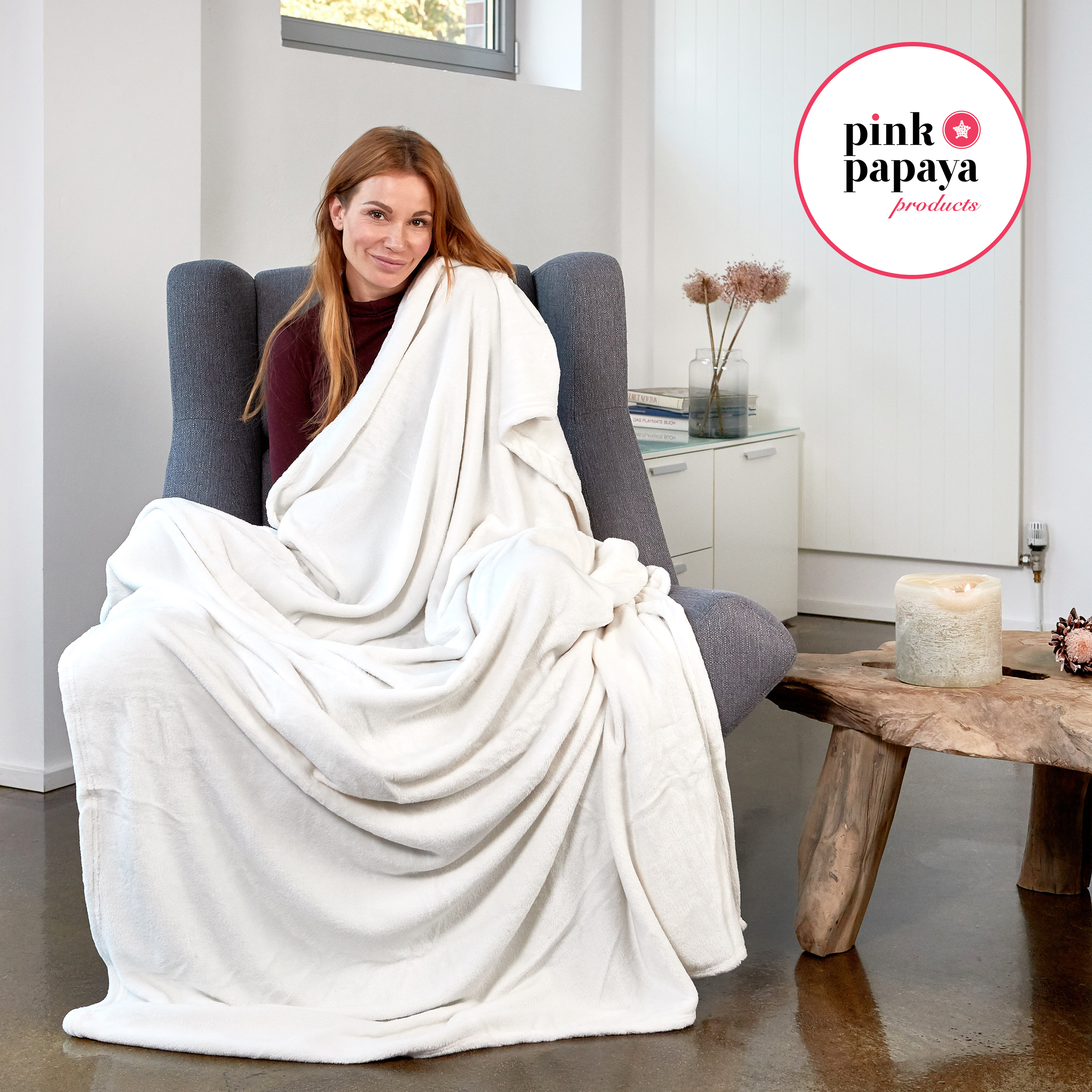 Pink Papaya Snug Me Supersoft Cashmere-Touch 150x200 cm - Perlmutt