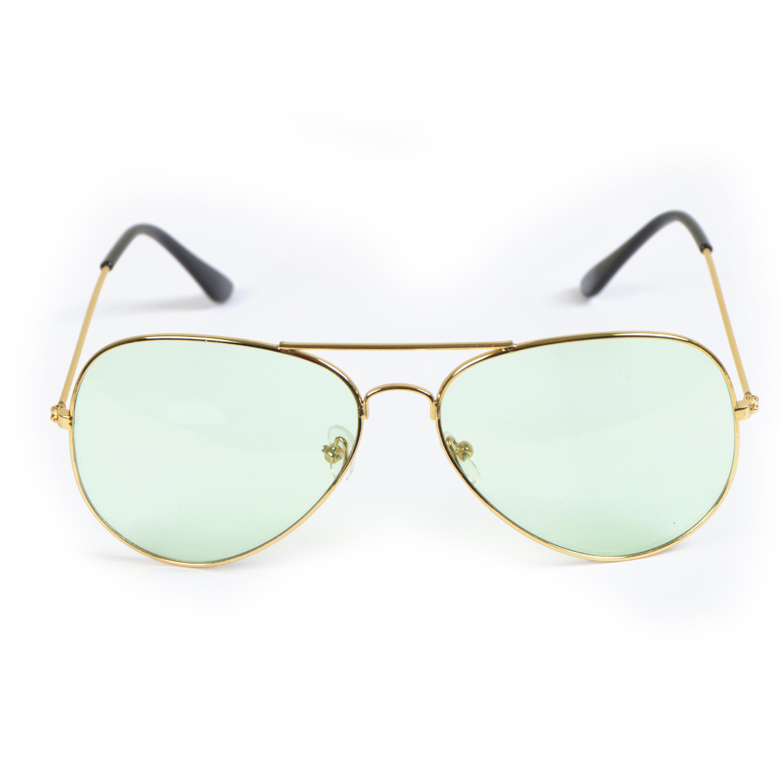 Sonnenbrille, Light, Pilotenbrille - Goldfassung, Gläser Hell-grün