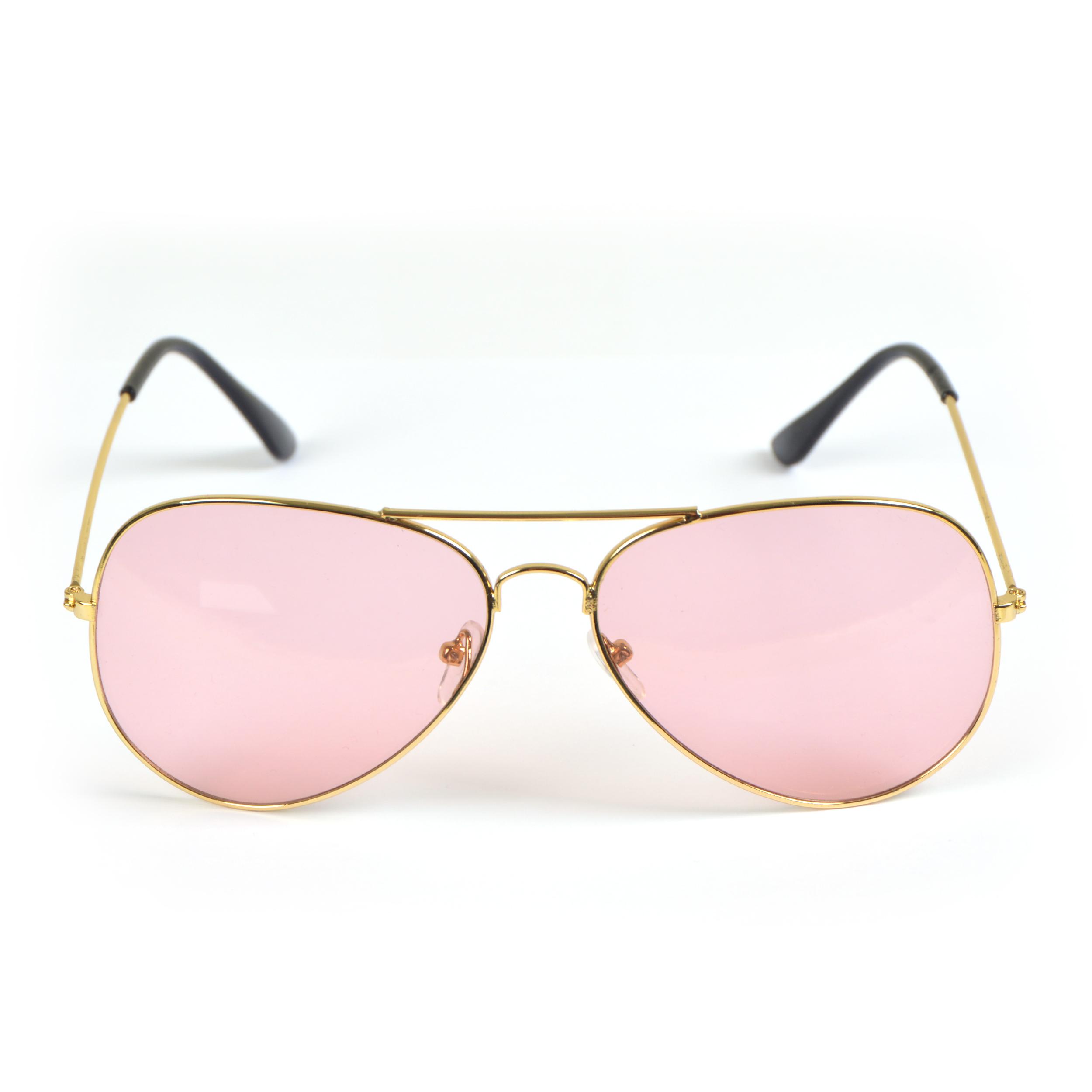 Sonnenbrille, Light, Pilotenbrille - Goldfassung, Gläser pink