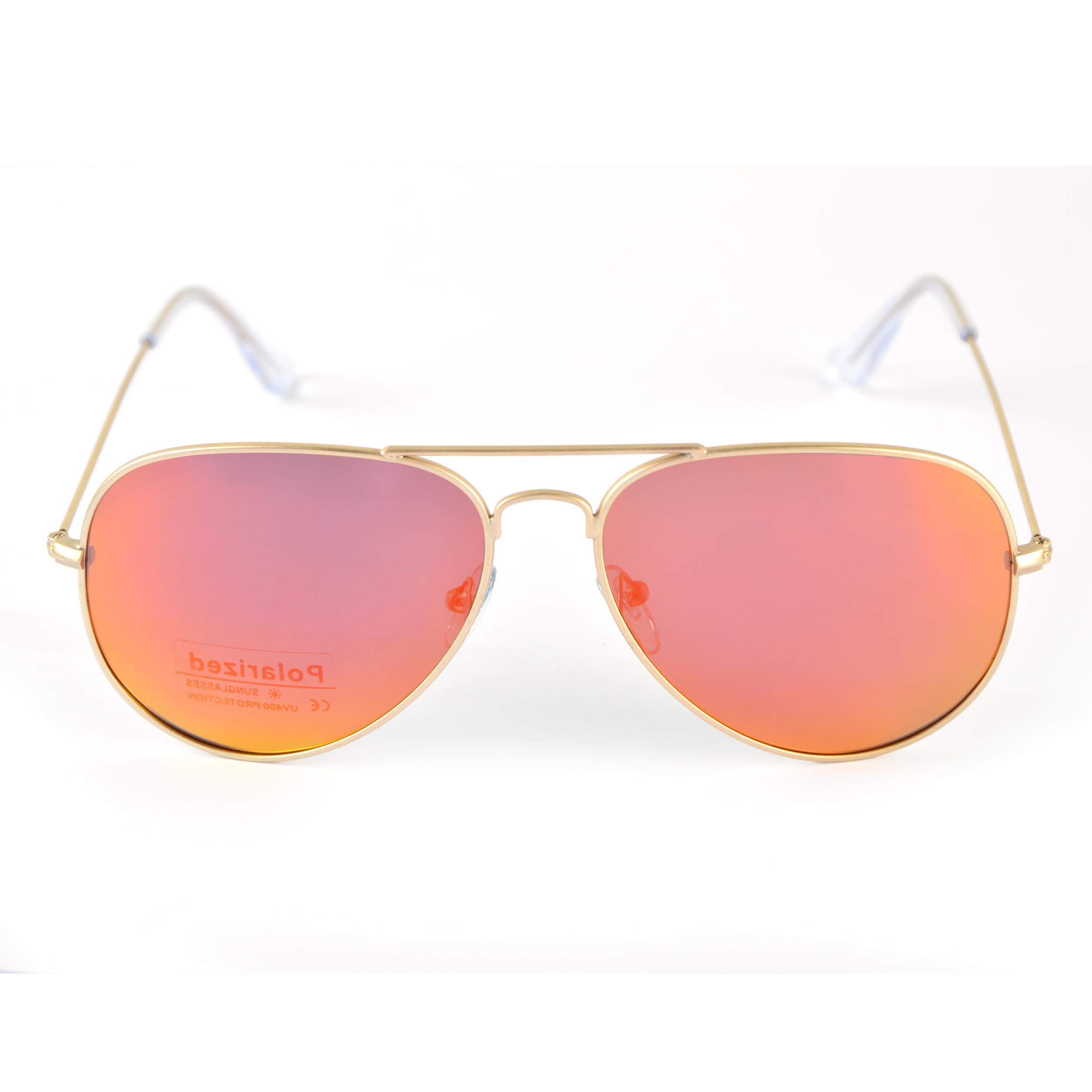 Sonnenbrille - polarisierte Pilotenbrille, Farbe: Gold - Rot