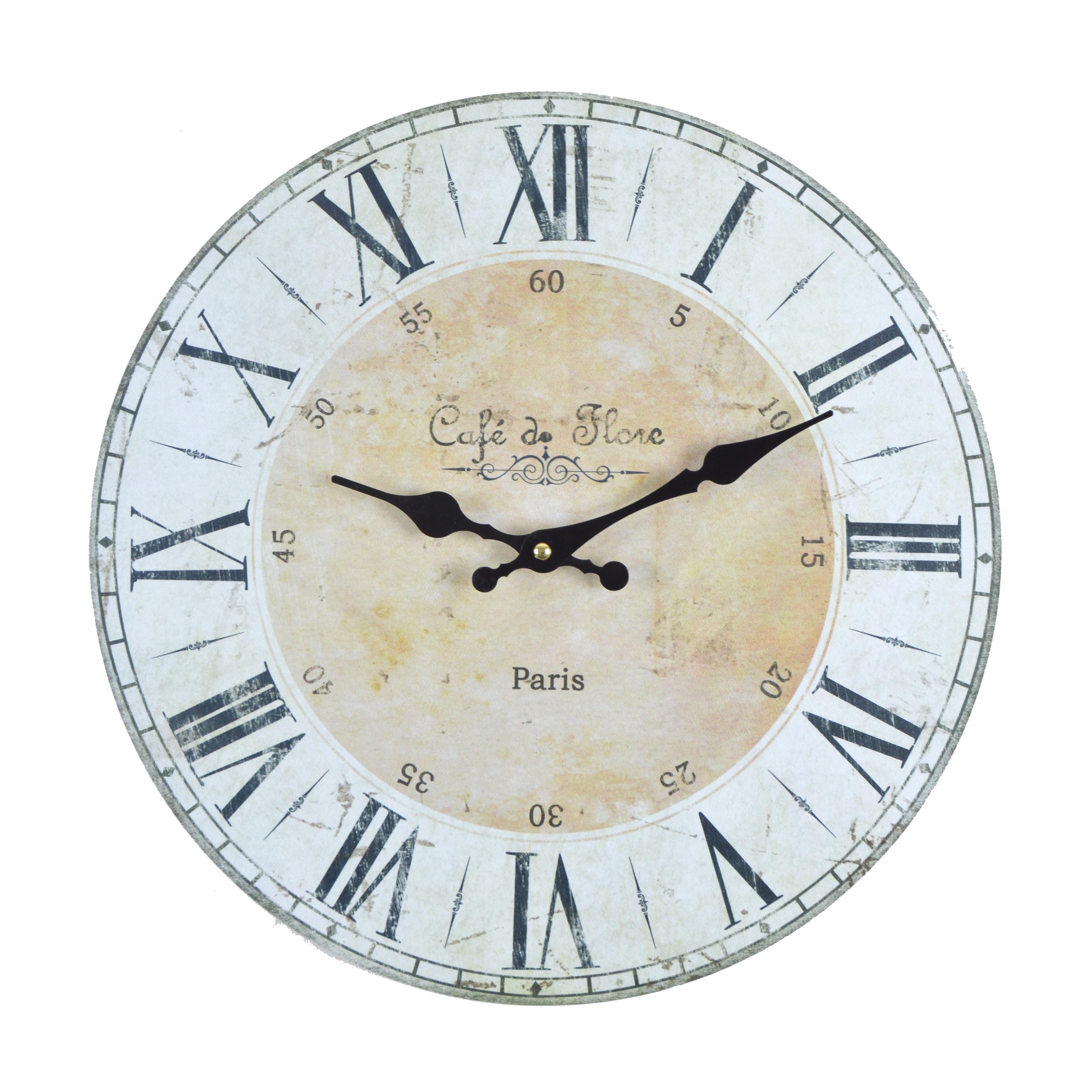 Wanduhr Cafe de Flore - beige - Vintage Uhr