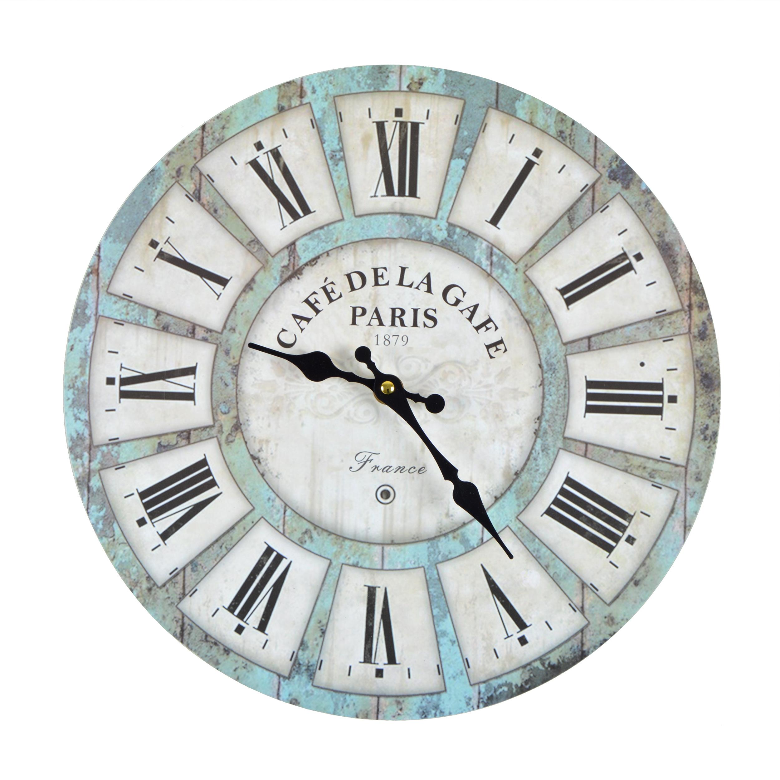 Wanduhr Cafe Garde - blau - Vintage Uhr
