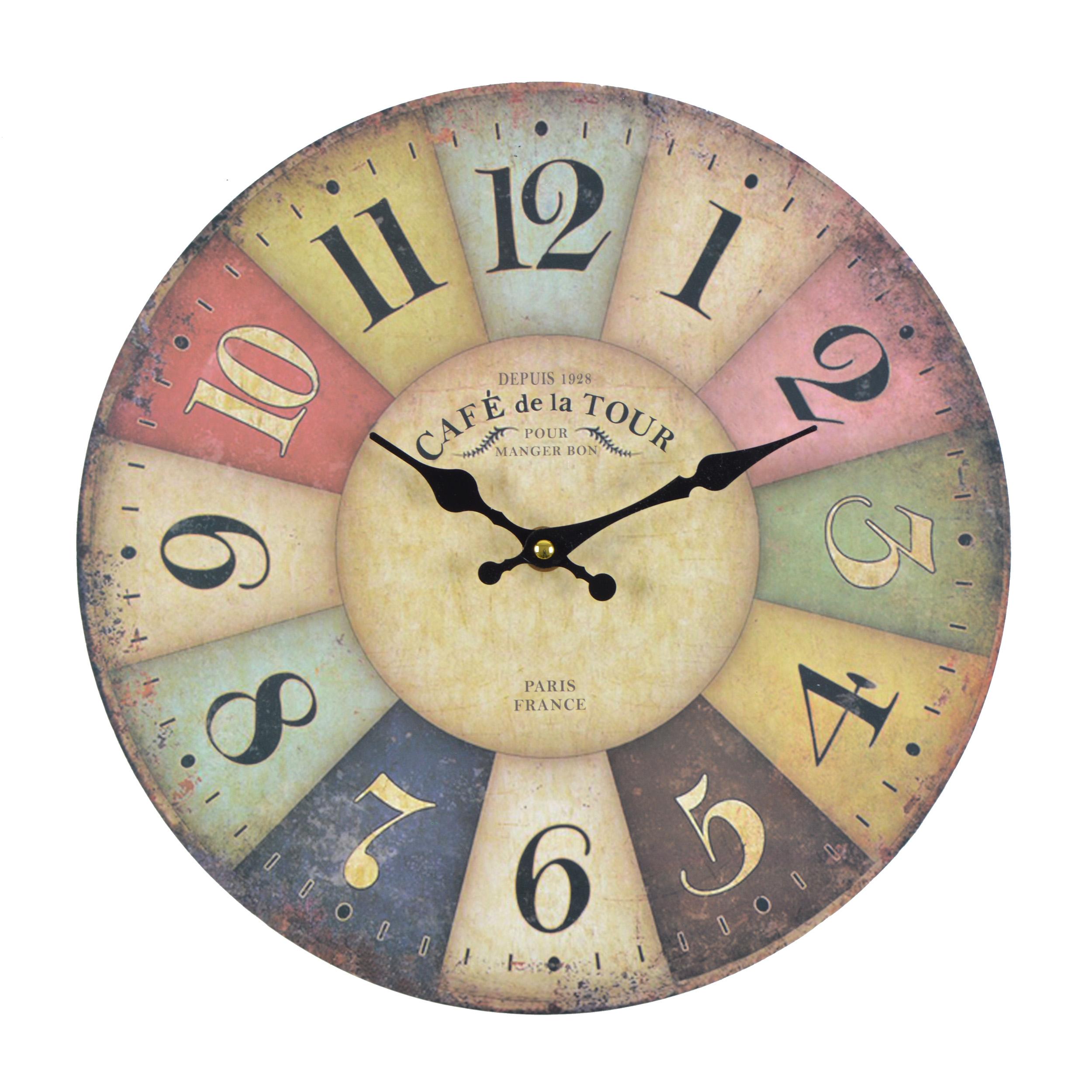 Wanduhr Cafe Tour - bunt - Vintage Uhr