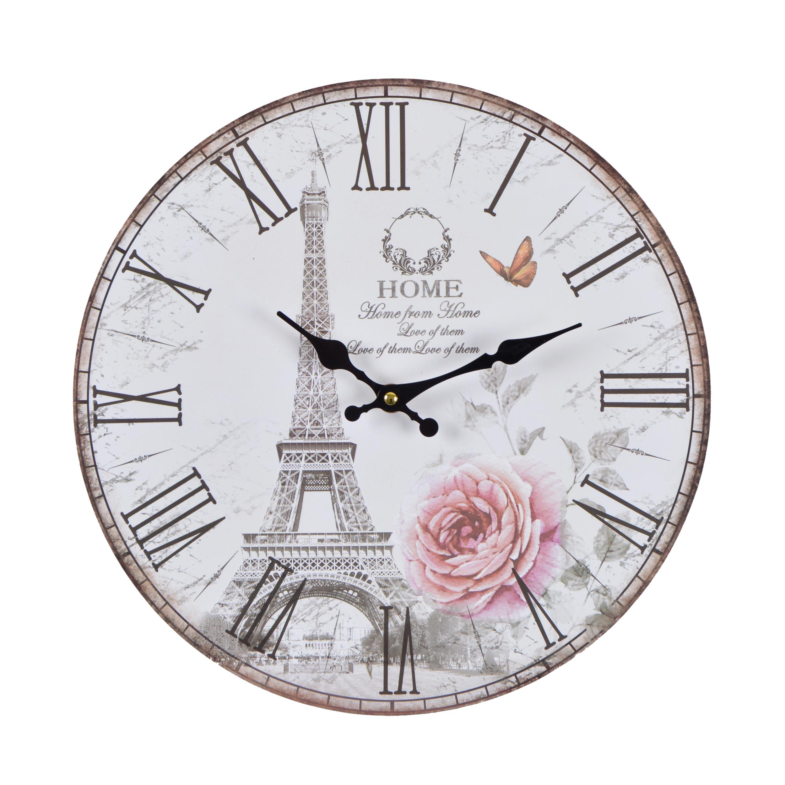 Wanduhr Rose Paris - weiß - Vintage Uhr