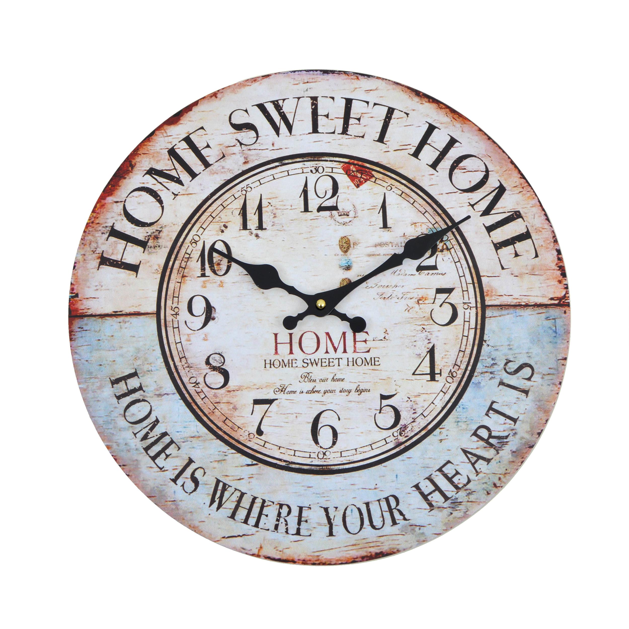 Wanduhr / Küchenuhr aus Holz - Home Sweet Home 30 cm Ø