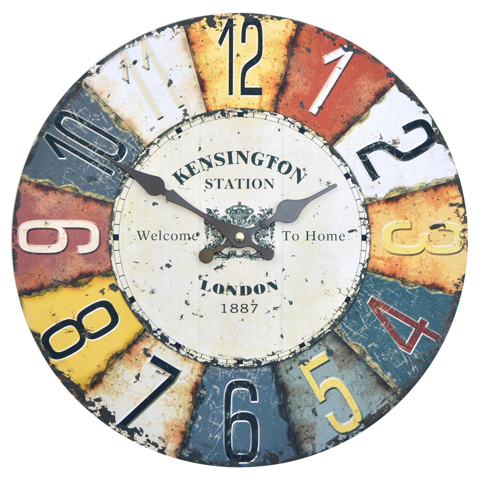 Wanduhr Kensington - bunt - farbenfrohe Uhr im retro Design